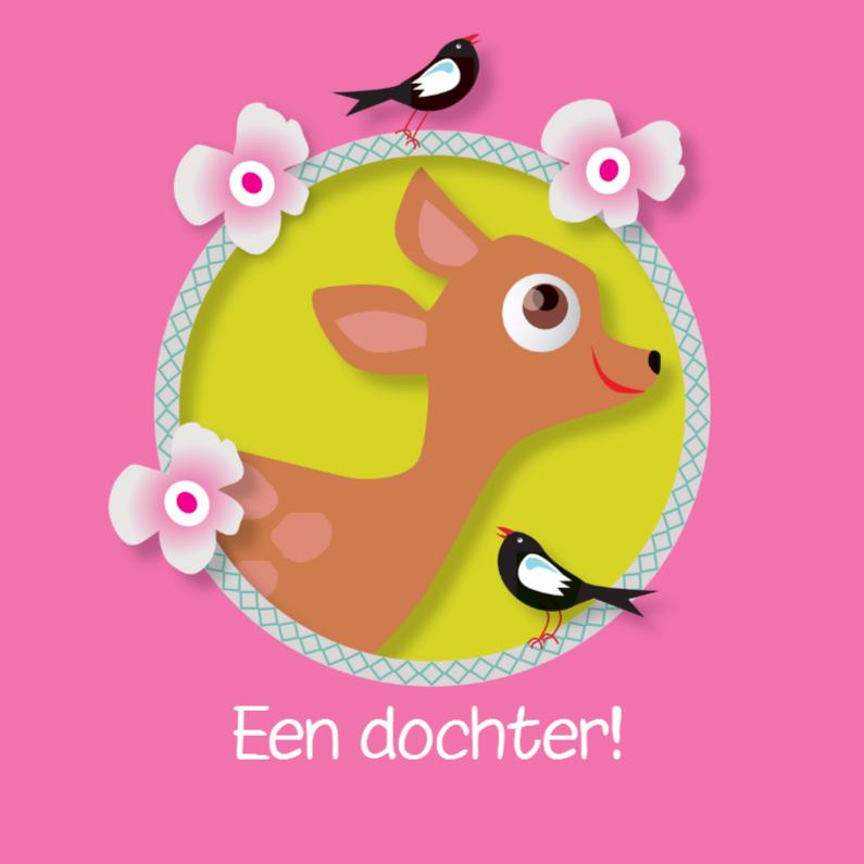 Felicitatiekaarten - Felicitatiekaart Hertje Vogels Zoet en Stoer en Roze