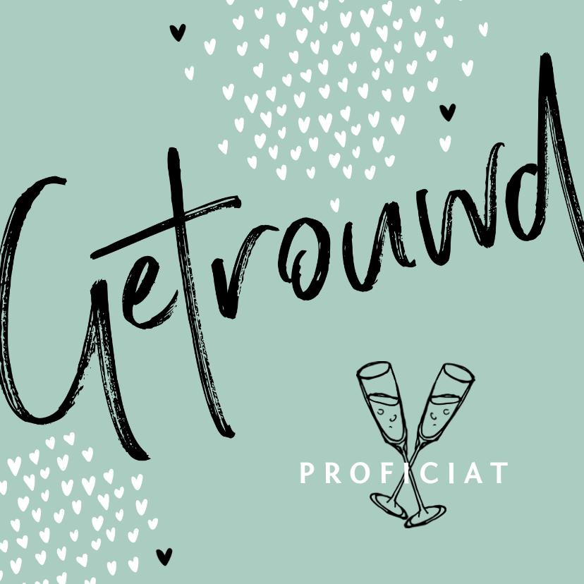 Felicitatiekaarten - Felicitatiekaart hip hartjes typografie champagne
