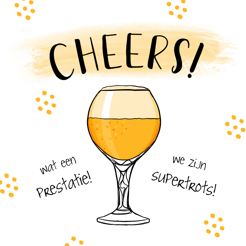 Felicitatiekaarten - Felicitatiekaart hip met bier en confetti