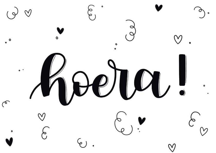 Felicitatiekaarten - Felicitatiekaart - Hoera! handlettering