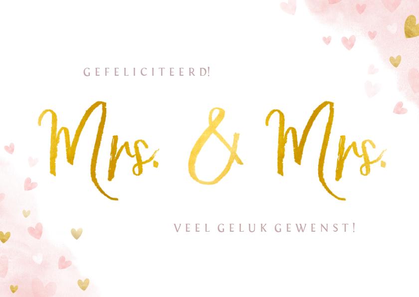 Felicitatiekaarten - Felicitatiekaart huwelijk 2 vrouwen - Mrs & Mrs