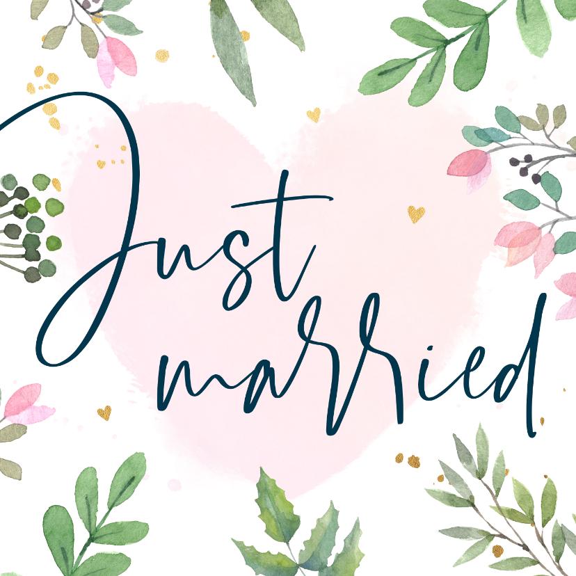 Felicitatiekaarten - Felicitatiekaart huwelijk botanisch