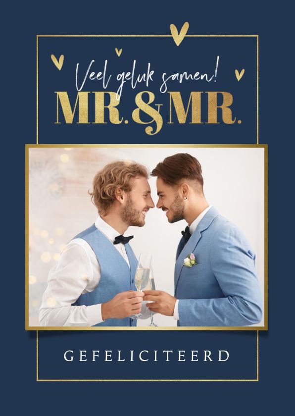 Felicitatiekaarten - Felicitatiekaart huwelijk gay homo mr. and mr. foto hartjes
