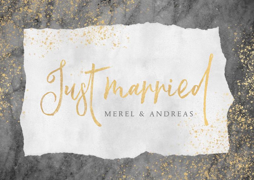 Felicitatiekaarten - Felicitatiekaart huwelijk met marmer, goud en typografie