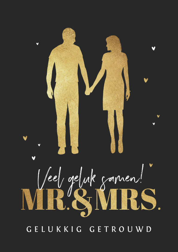 Felicitatiekaarten - Felicitatiekaart huwelijk mr and mrs silhouet goud hartjes