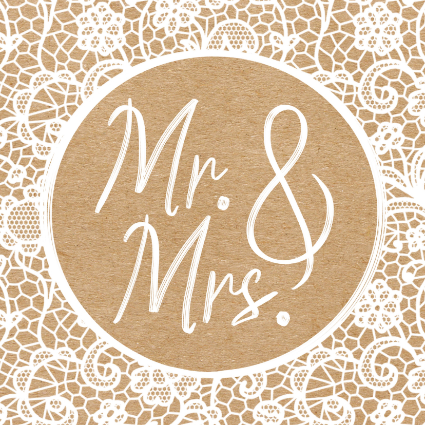 Felicitatiekaarten - Felicitatiekaart huwelijk - Mr. & Mrs. - Nieuw bruidspaar