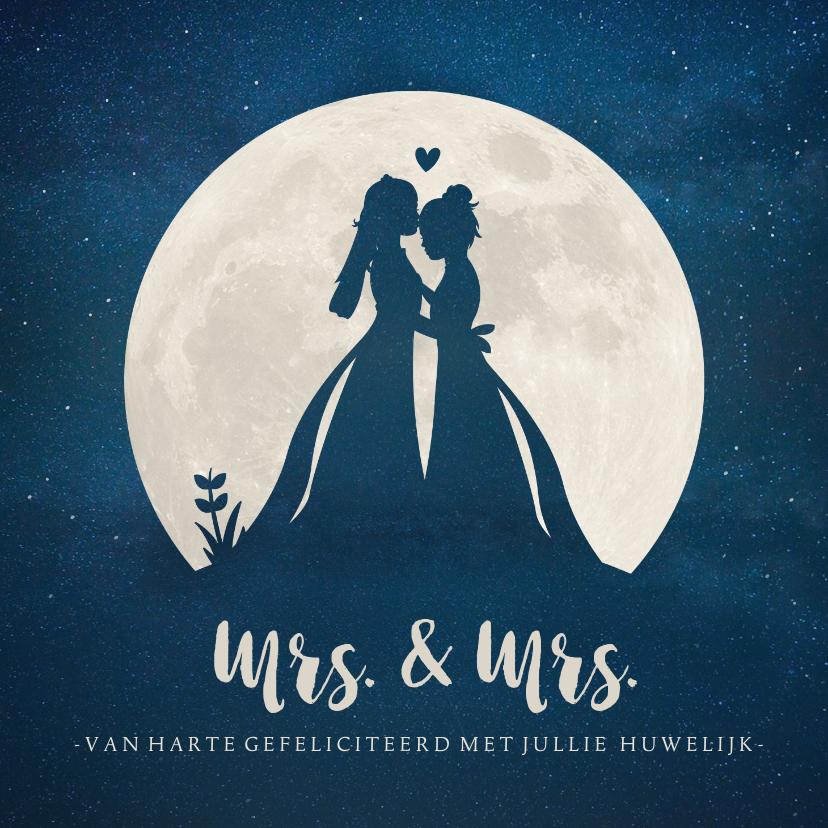 Felicitatiekaarten - Felicitatiekaart huwelijk - silhouet van 2 vrouwen in maan