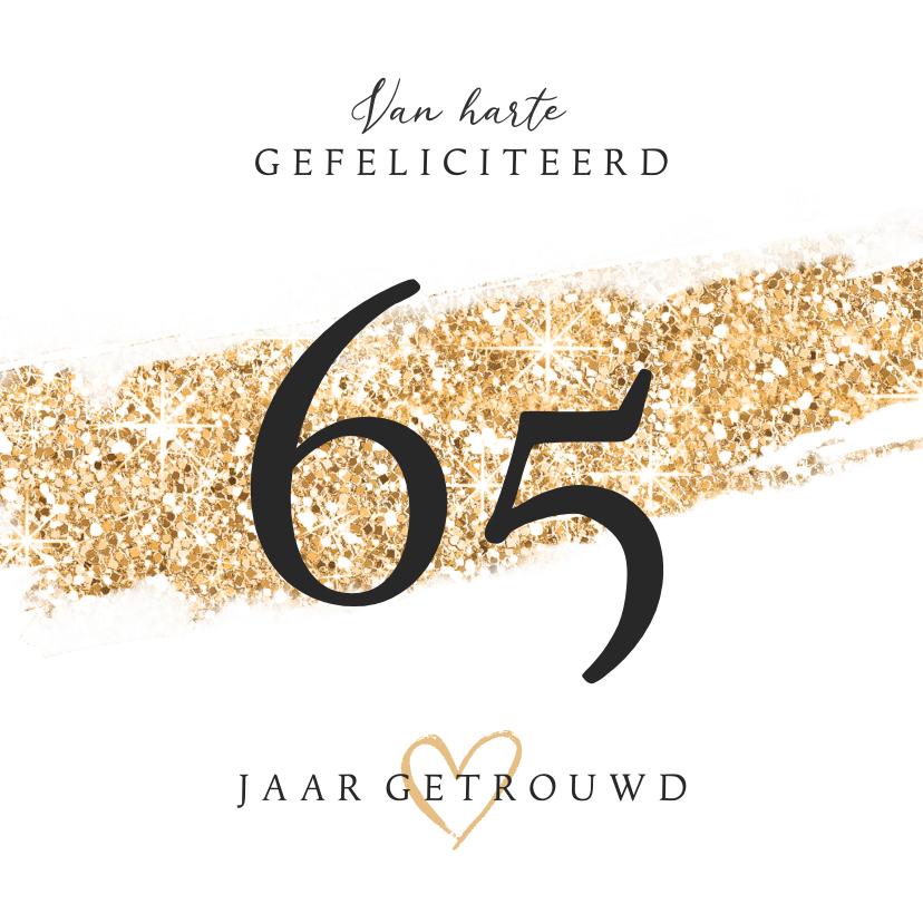 Felicitatiekaarten - Felicitatiekaart huwelijksjubileum 65 jaar getrouwd goud