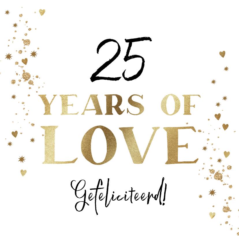 Felicitatiekaarten - Felicitatiekaart huwelijksjubileum met goud en hartjes