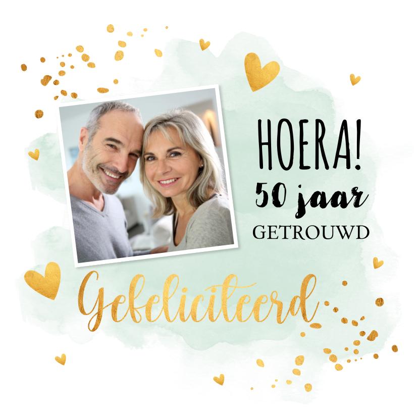 Felicitatiekaarten - Felicitatiekaart huwelijksjubileum waterverf mintgroen foto