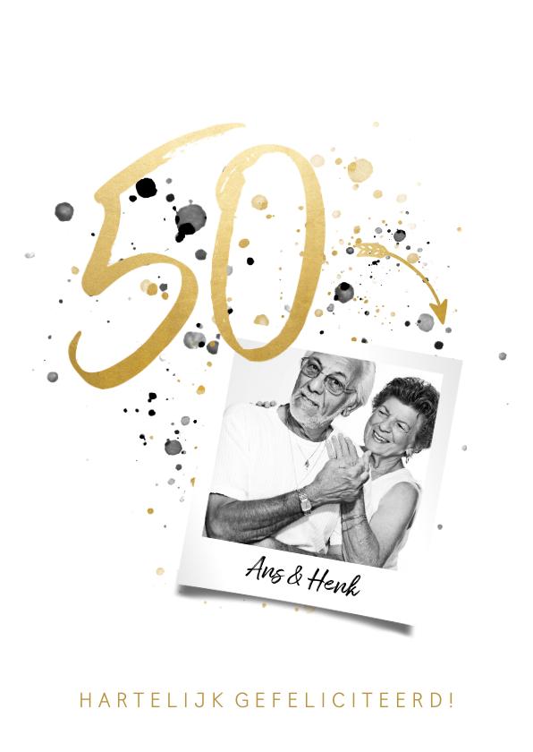 Felicitatiekaarten - Felicitatiekaart jubileum '50' met foto en spetters
