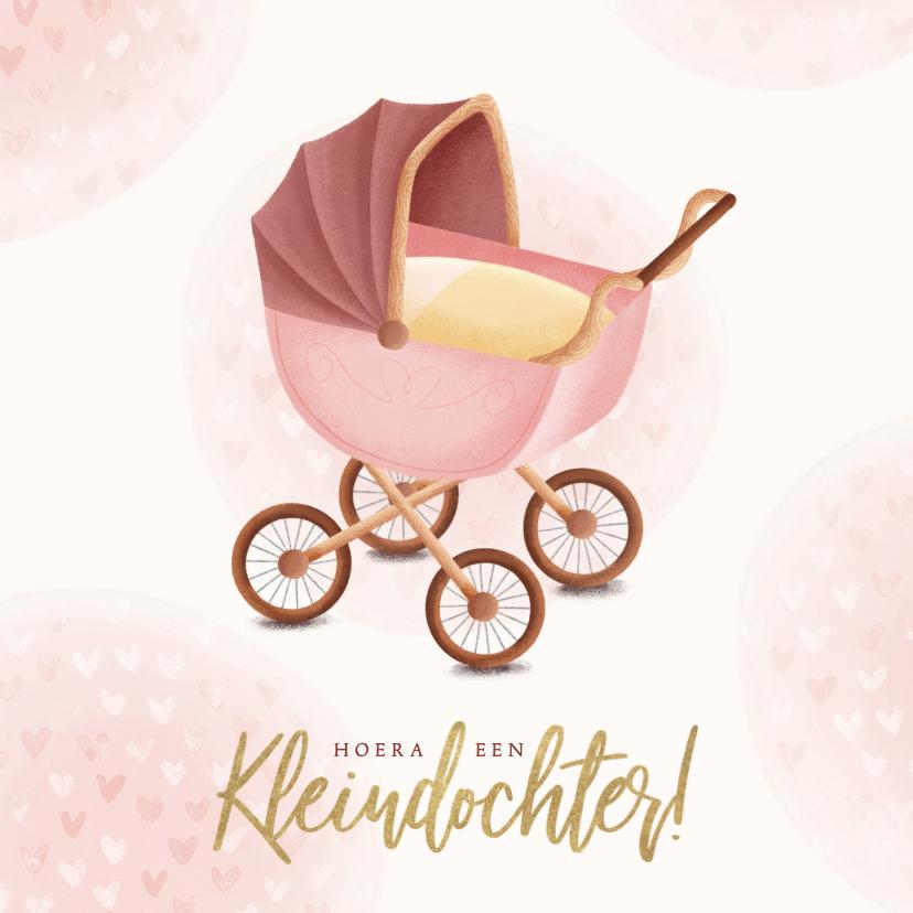Felicitatiekaarten - Felicitatiekaart kinderwagen hoera een kleindochter