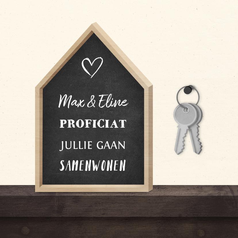 Felicitatiekaarten - Felicitatiekaart krijtbord huis met sleutelbos
