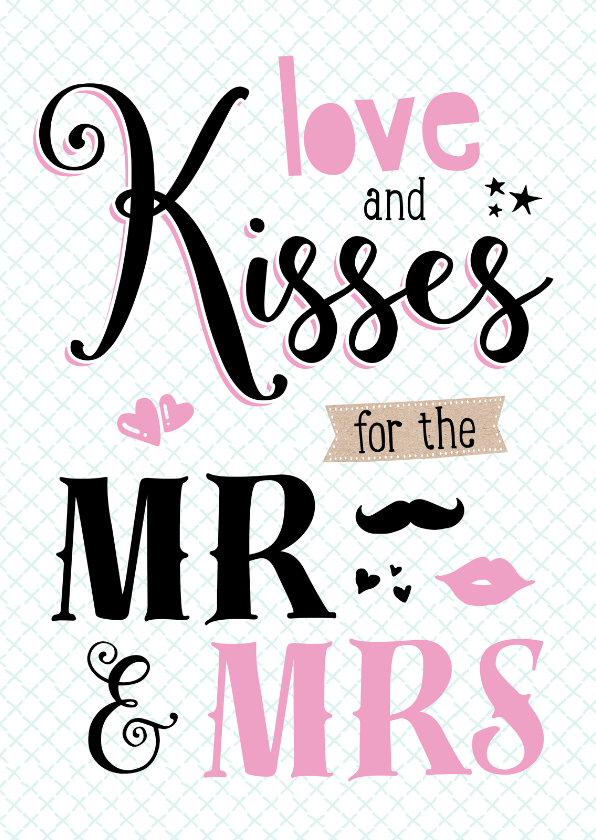 Felicitatiekaarten - Felicitatiekaart Love & Kisses