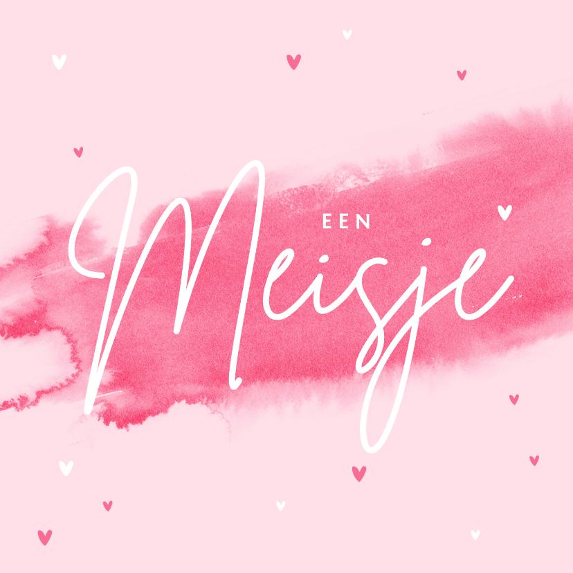Felicitatiekaarten - Felicitatiekaart meisje baby roze waterverf hartjes