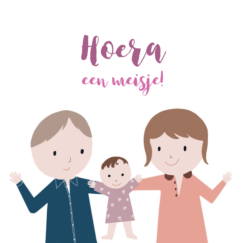 Felicitatiekaarten - Felicitatiekaart meisje Ouders & wiegje