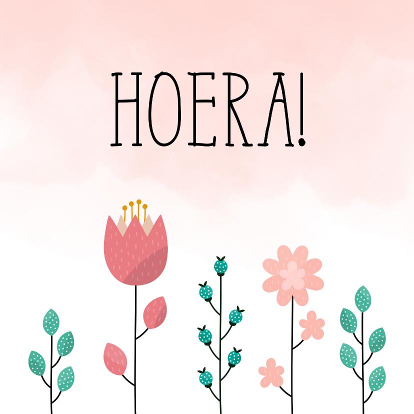Felicitatiekaarten - Felicitatiekaart met bloemen en waterverf