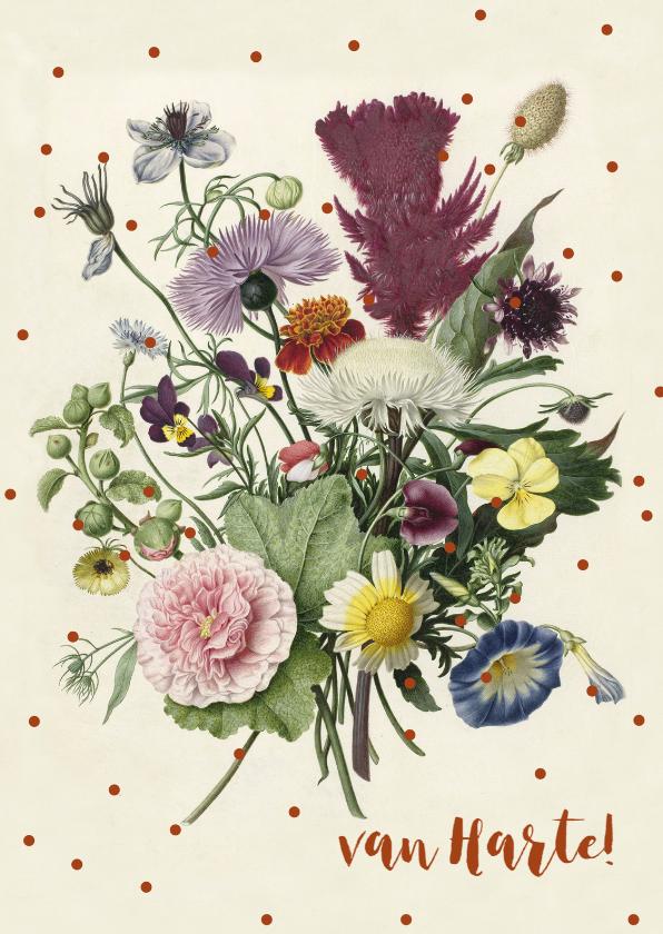 Felicitatiekaarten - Felicitatiekaart met bos bloemen en stippen.