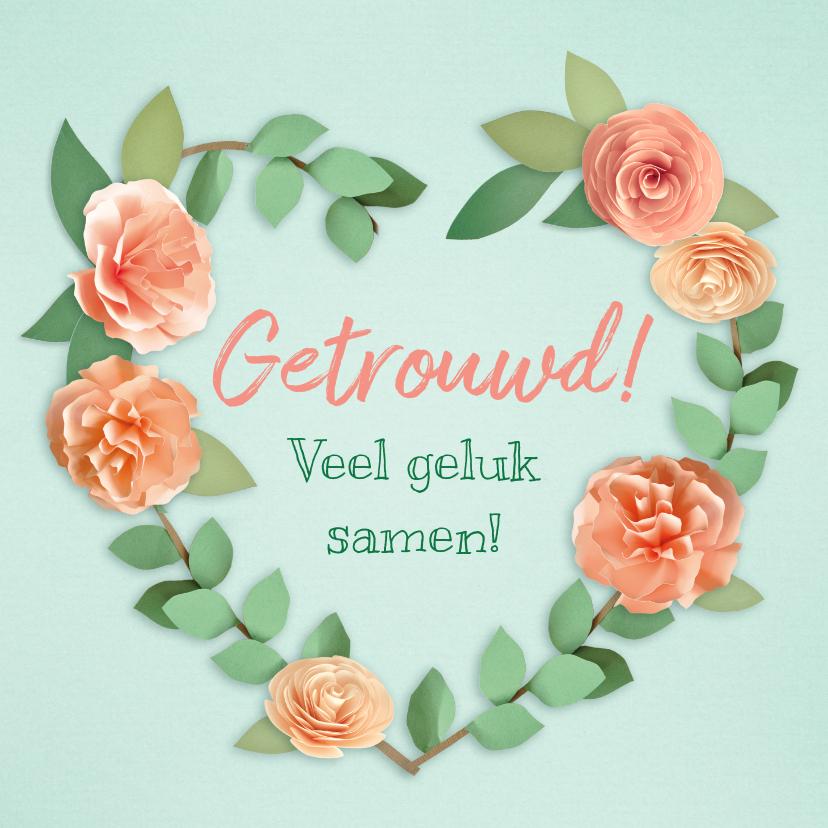 Felicitatiekaarten - Felicitatiekaart met een hart van bloemen