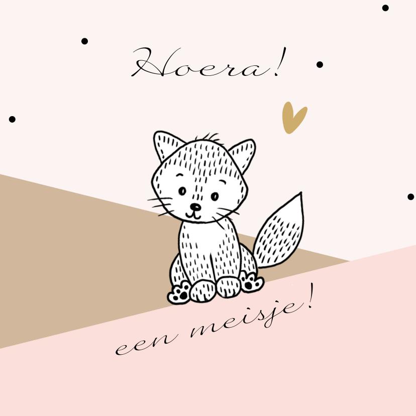 Felicitatiekaarten - Felicitatiekaart met een lief vosje in de bergen