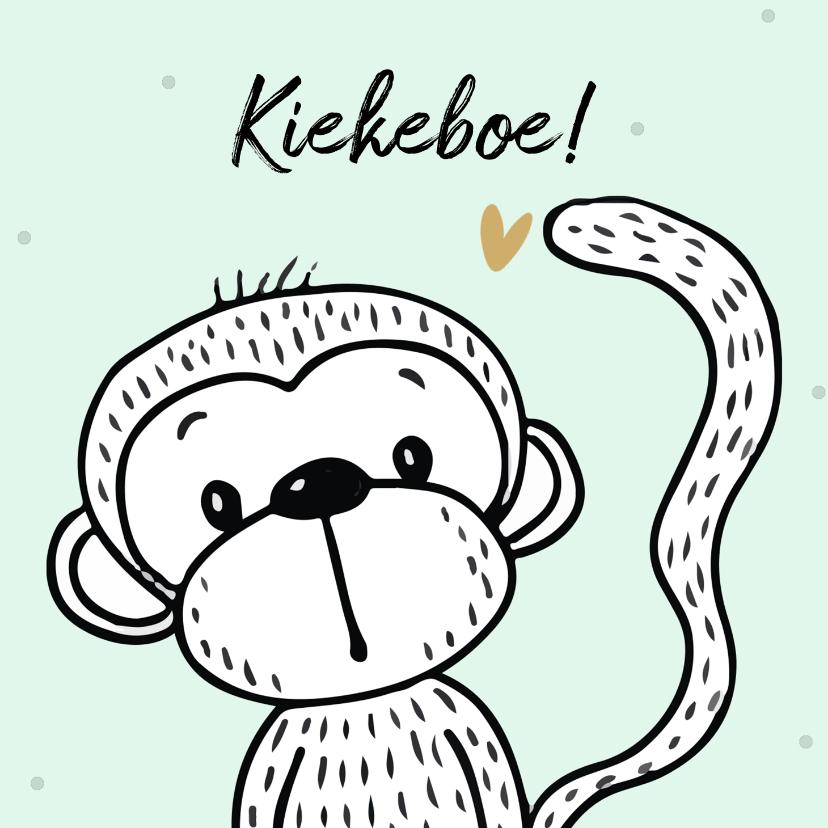 Felicitatiekaarten - Felicitatiekaart met een vrolijke aap op mint achtergrond