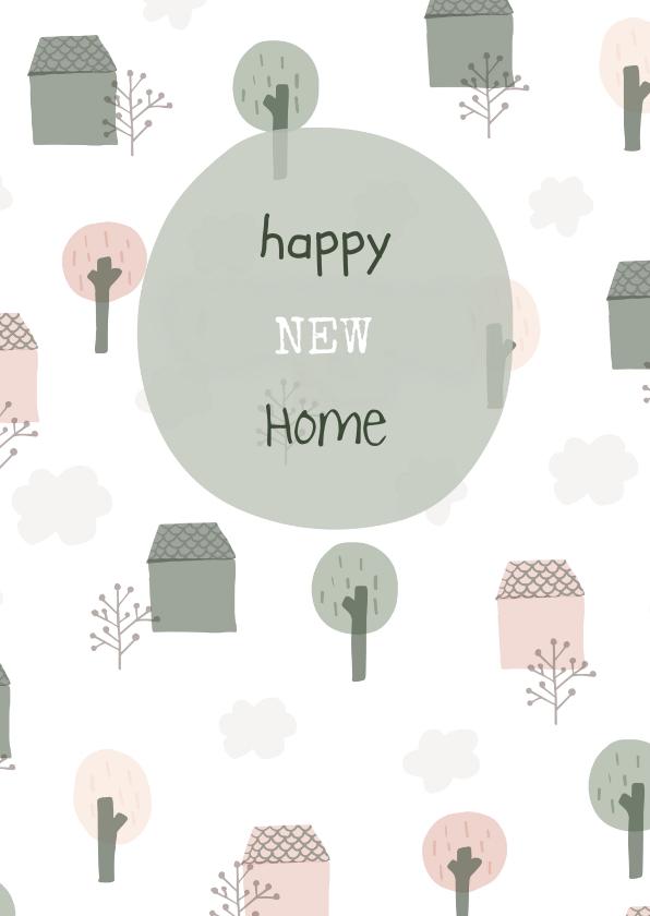 Felicitatiekaarten - Felicitatiekaart met geïllustreerde huisjes, bomen en wolken