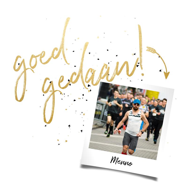 Felicitatiekaarten - Felicitatiekaart met gouden 'goed gedaan' en foto