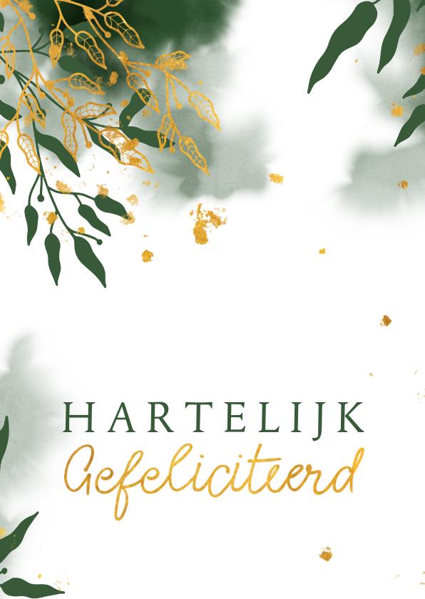 Felicitatiekaarten - Felicitatiekaart met groene waterverf en gouden bladeren