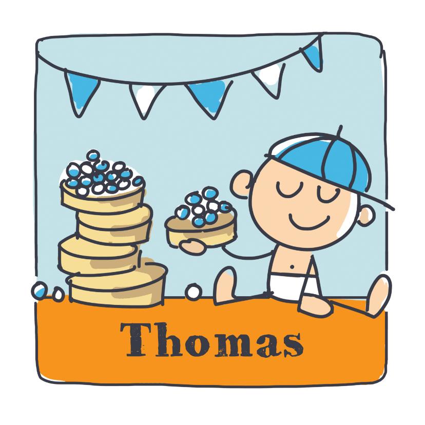 Felicitatiekaarten - Felicitatiekaart met jongen en beschuit met blauwe muisjes