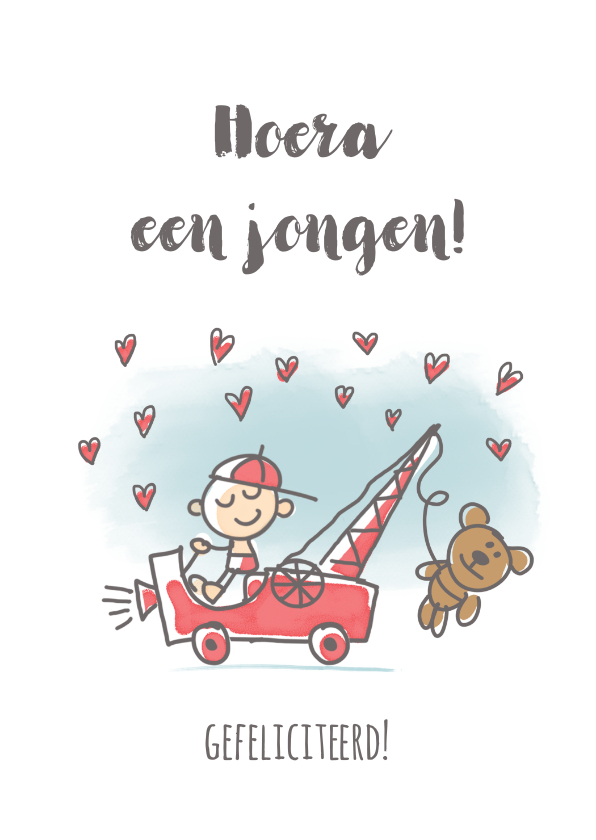 Felicitatiekaarten - Felicitatiekaart met jongen en kraanwagen met beer
