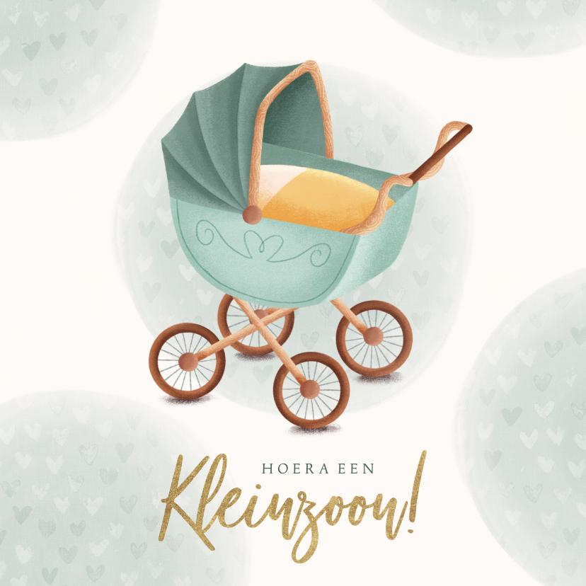 Felicitatiekaarten - Felicitatiekaart met kinderwagen hoera een kleinzoon