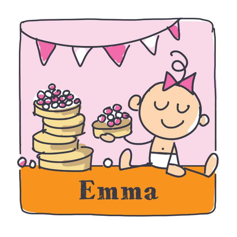 Felicitatiekaarten - Felicitatiekaart met meisje en beschuit met roze muisjes