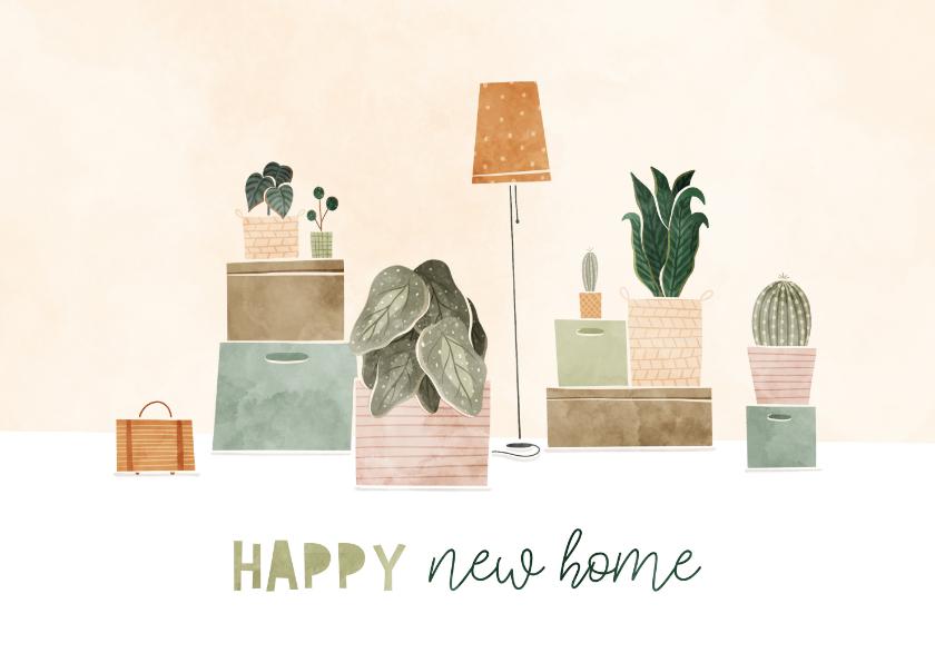 Felicitatiekaarten - Felicitatiekaart met plantjes en verhuisdozen happy new home