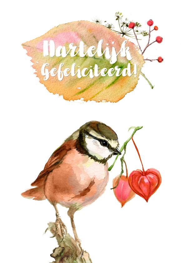 Felicitatiekaarten - Felicitatiekaart met roze vogel en lampionnetjes-hartjes