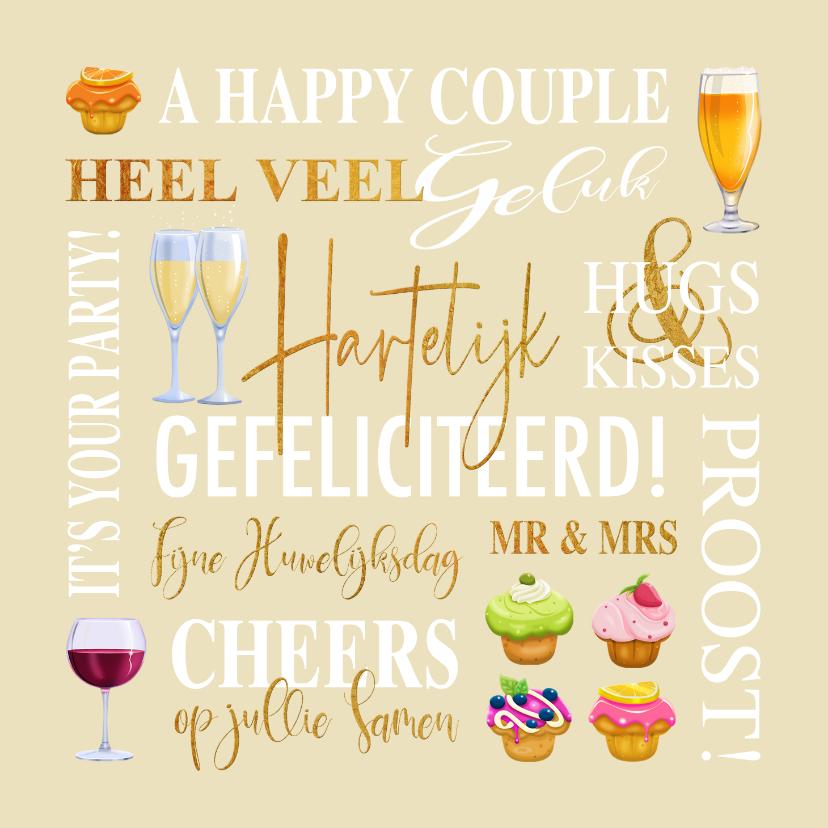 Felicitatiekaarten - Felicitatiekaart met teksten, drankjes en gebakjes huwelijk