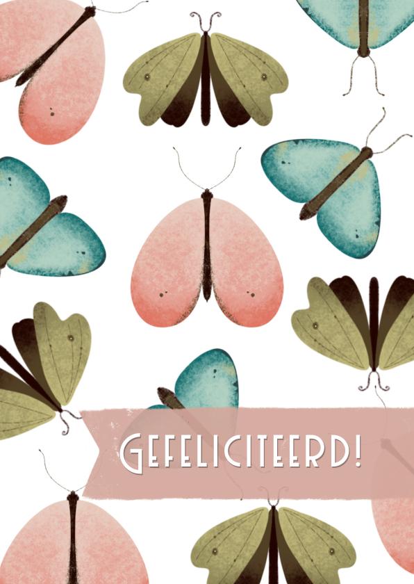 Felicitatiekaarten - Felicitatiekaart met vlinder patroon