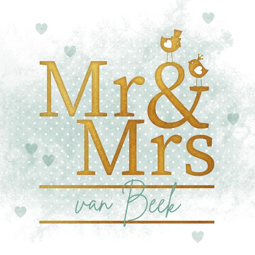 Felicitatiekaarten - Felicitatiekaart Mr & Mrs gouden vogeltjes