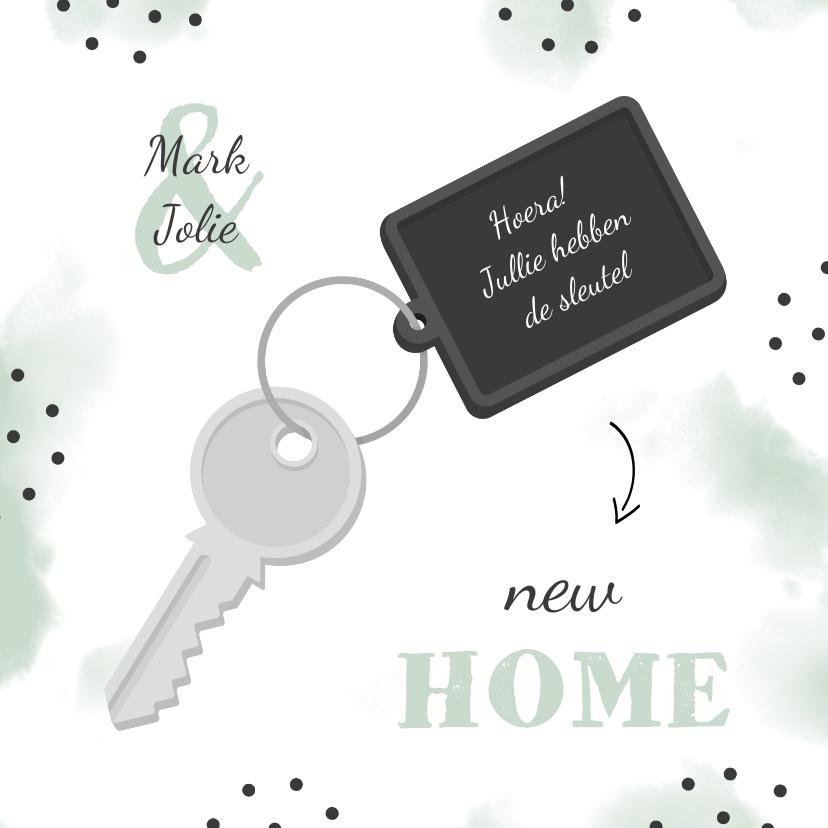 Felicitatiekaarten - Felicitatiekaart new home sleutel met label