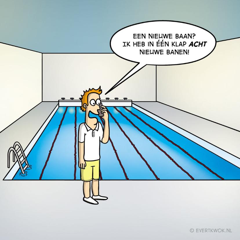 Felicitatiekaarten - Felicitatiekaart nieuwe baan met grappige cartoon 'zwembad'