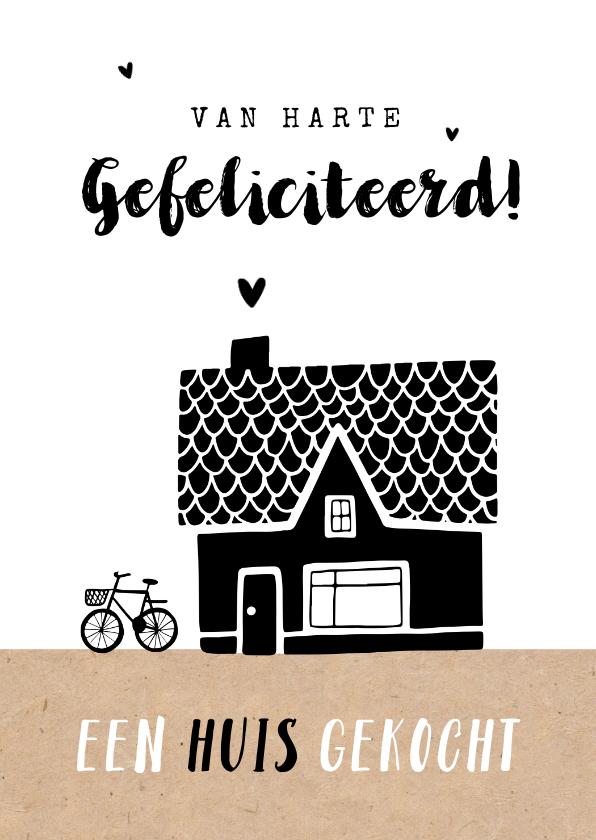 Felicitatiekaarten - Felicitatiekaart nieuwe woning huis gekocht huis fiets