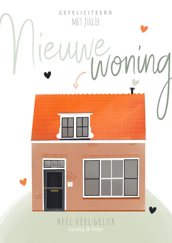 Felicitatiekaarten - Felicitatiekaart nieuwe woning huis illustratie en hartjes