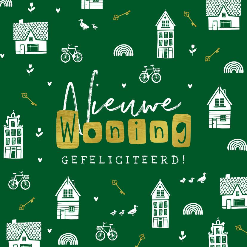 Felicitatiekaarten - Felicitatiekaart nieuwe woning huisjes sleutels fietsen