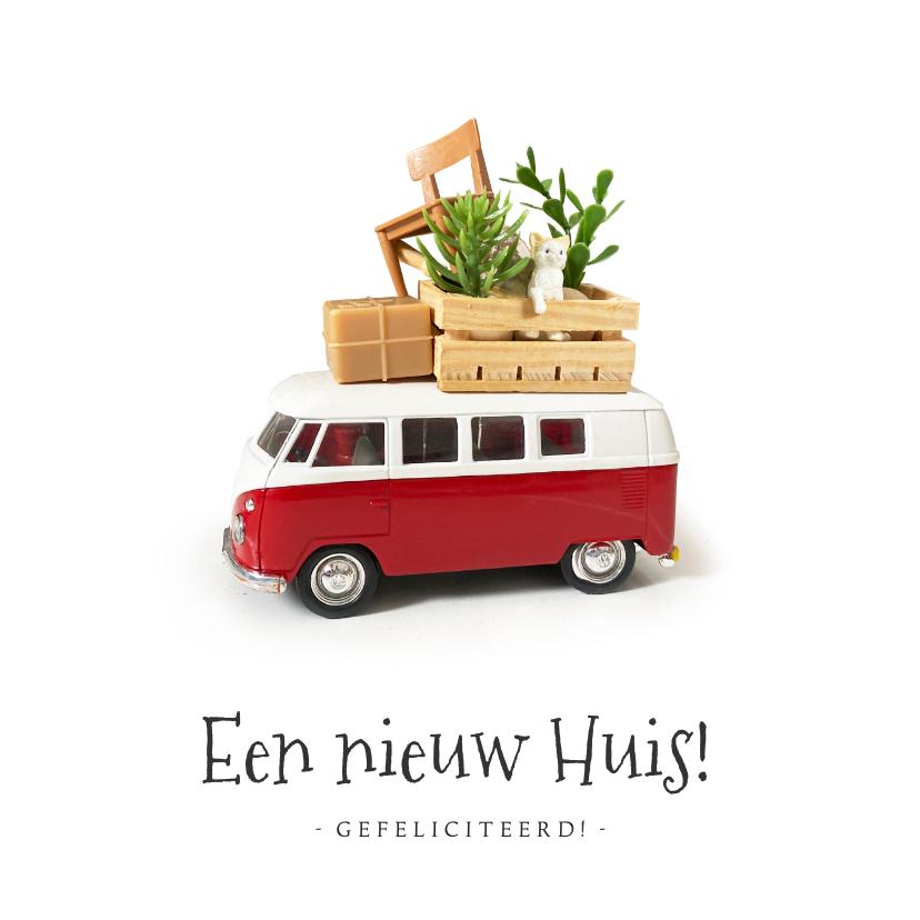 Felicitatiekaarten - Felicitatiekaart nieuwe woning - met bepakt volkswagenbusje