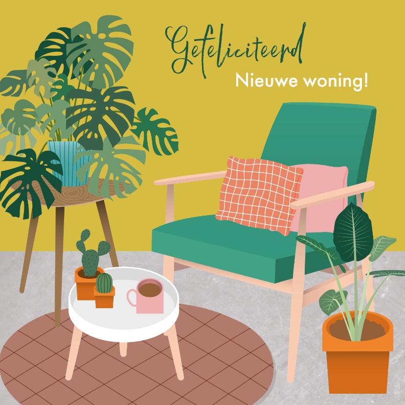 Felicitatiekaarten - Felicitatiekaart nieuwe woning met gezellige woonkamer