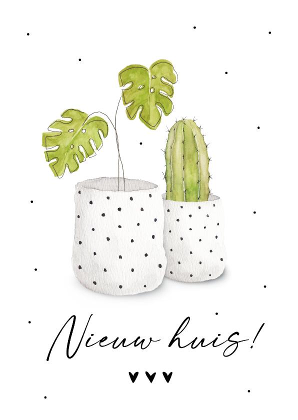 Felicitatiekaarten - Felicitatiekaart nieuwe woning met hippe kamerplanten