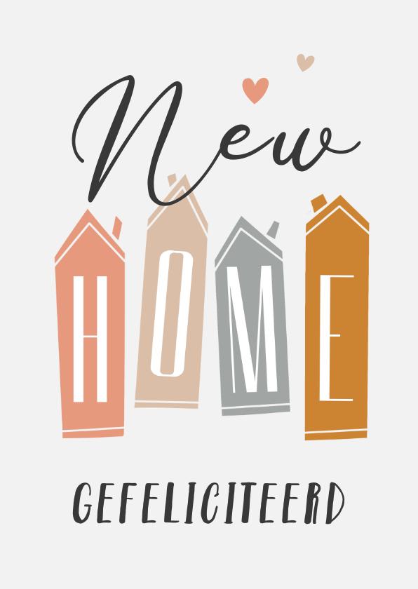 Felicitatiekaarten - Felicitatiekaart nieuwe woning new home huisjes hip