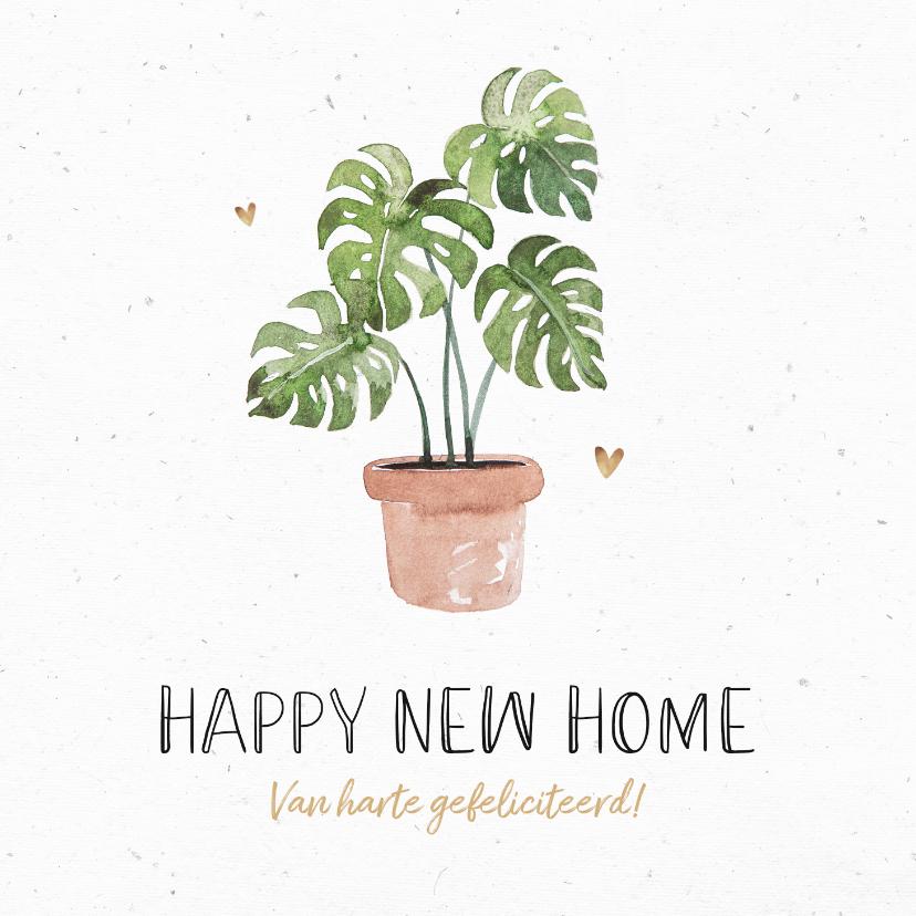 Felicitatiekaarten - Felicitatiekaart nieuwe woning plant botanisch hartjes