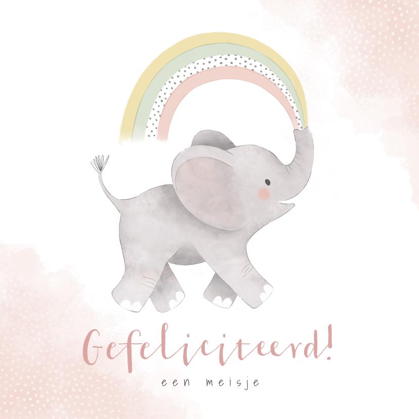 Felicitatiekaarten - Felicitatiekaart olifantje en regenboog geboorte dochter