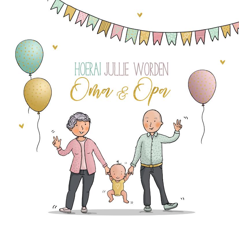 Felicitatiekaarten - Felicitatiekaart opa en oma en nieuwe baby