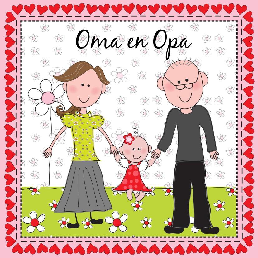 Felicitatiekaarten - Felicitatiekaart opa en oma roze